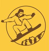 Ski resort logo emblems, labels badges vector elements Stock Illustration