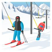 Snowboarder sitting in ski gondola and lift elevators. Winter sport resort - stock illustration