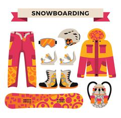 Snowboard sport clothes and tools elements - stock illustration