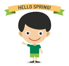 Hello Summer cartoon boy with hands up vector illustration - stock illustration