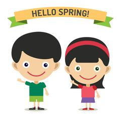 Hello Summer cartoon boy and girl with hands up vector illustration - stock illustration