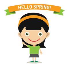 Stock Illustration of Hello Summer cartoon girl with hands up vector illustration