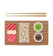Vector sushi and rolls set isolated on white background - stock illustration