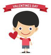 Cute cartoon boy with heart vector illustration - stock illustration