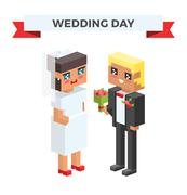 Wedding 3d couples cartoon style vector illustration - stock illustration