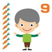 Cartoon boy learning game card - stock illustration