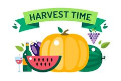 Harvest time food icons illustration Stock Illustration