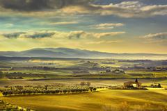 Tuscany Maremma foggy morning, farmland and green fields. Italy. Stock Photos