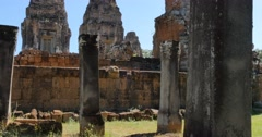 Pre Rup Cambodia Angkor Wat temple ancient ruin buildings monument Stock Footage