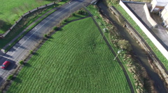 Aerial shoot of kids playground of country village in Ireland Stock Footage