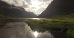 Beautiful aerial shot of Glencoe and Glen Etive in the Scottish highlands Stock Footage