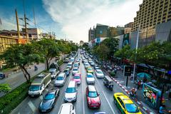 View of traffic on Henri Dunant Road, in Bangkok, Thailand. - stock photo