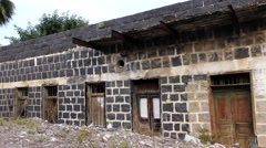 Early 20th century basalt houses in Tiberias, Israel. Stock Footage