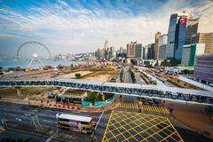 View of modern skyscrapers and a major intersection in Central, Hong Kong, Ho Stock Photos