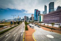 View of Lung Wo Road and modern skyscrapers at Central, in Hong Kong, Hong Ko - stock photo