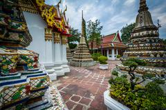 The historic Wat Pho Buddhist temple, in Bangkok, Thailand. - stock photo