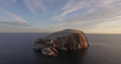 Stunning aerial shot of Bass rock off the coast of North Berwick, Scotland Stock Footage