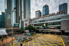 Major intersection at the International Financial Center, in Hong Kong, Hong  - stock photo