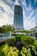 Garden and modern skyscraper at Central, in Hong Kong, Hong Kong. - stock photo