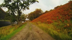 Scotland driving fall lake left - stock footage
