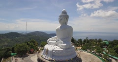 Aerial shot of big Buddha in Phuket, Thailand - stock footage