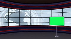 Stock Video Footage of News TV Studio Set 101 - Virtual Green Screen Background Loop