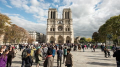 Time Lapse of Notre Dame Cathedral in Paris France Daytime Stock Footage
