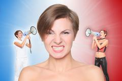concept, angel and demon. portrait angry girl. good and evil, screaming in - stock photo