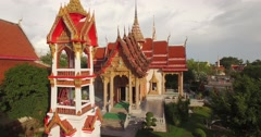 Stunning aerial shot of Wat Chalong temple in Phuket, Thailand Stock Footage
