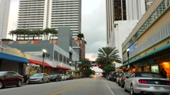 Downtown Miami Flagler Street eastbound Stock Footage