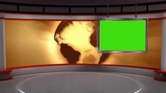 Stock Video Footage of News TV Studio Set 103 - Virtual Green Screen Background Loop