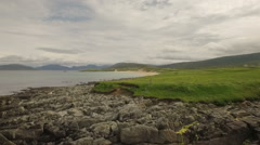 Stunning aerial shot on the Isle of Harris, Scotland near the coast Stock Footage