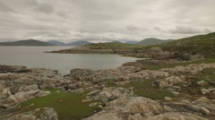 Stunning aerial shot on the Isle of Harris, Scotland showing water and beaches Stock Footage