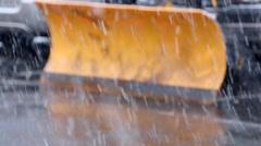 Snow Plow in Winter Storm Stock Footage