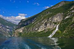 Stock Photo of Waterfall The Suitor UNESCO World Heritage Site Geirangerfjord in Geiranger