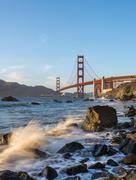 Stock Photo of Golden Gate Bridge Marshalls Beach rocky coast San Francisco USA North America