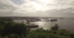 Aerial shot of Stornoway harbour on the Isle of Lewis Stock Footage