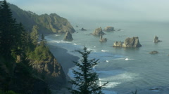 China Beach from above, Southern Oregon coast (zoom out) Stock Footage