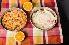 Pan of fresh baked iced sweet rolls Stock Photos