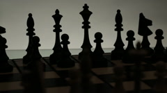 Chess boards and chess pieces game Stock Footage