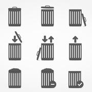 Trash Can Icons - stock illustration