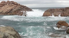 Stormy sea close to rocks at Canal rocks, Australia Stock Footage