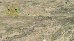 Wardak with Coat of arms animation map Stock Footage