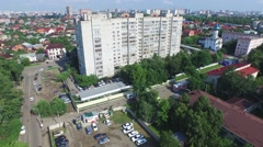 Flight over buildings in Krasnodar - stock footage