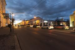 VLADIMIR, RUSSIA -November 05.2015.  Bolshaya Moskovskaya Street  is Historic Stock Photos