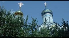 Church over trees in Krasnodar - stock footage