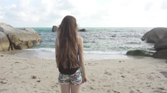 Long-Haired Woman with Backpack Likes Sea Landscape Like in Social Networks Stock Footage