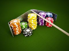 Casino chips on green cloth - stock illustration