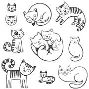Cute  doodle cats with different emotions. Stock Illustration