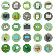 Business Basic Round Icon Vector Set  - stock illustration